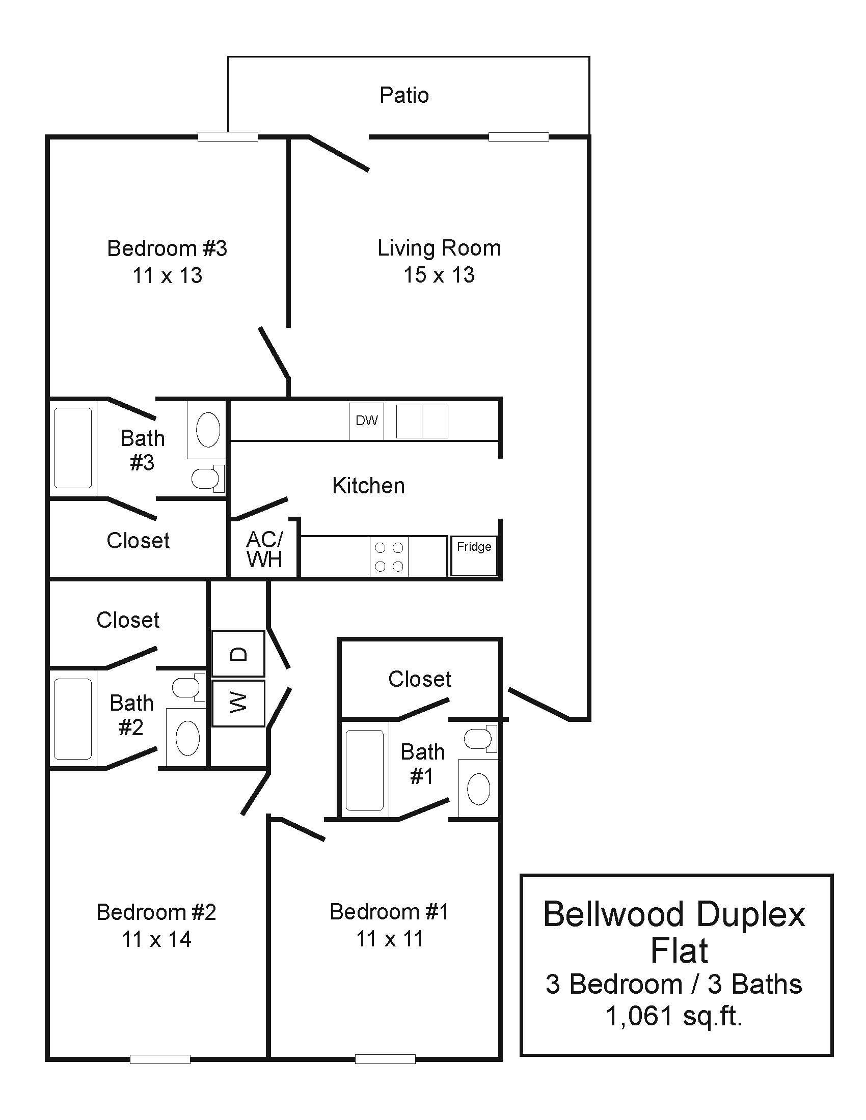 Bellwood Duplexes 3/3 Flat