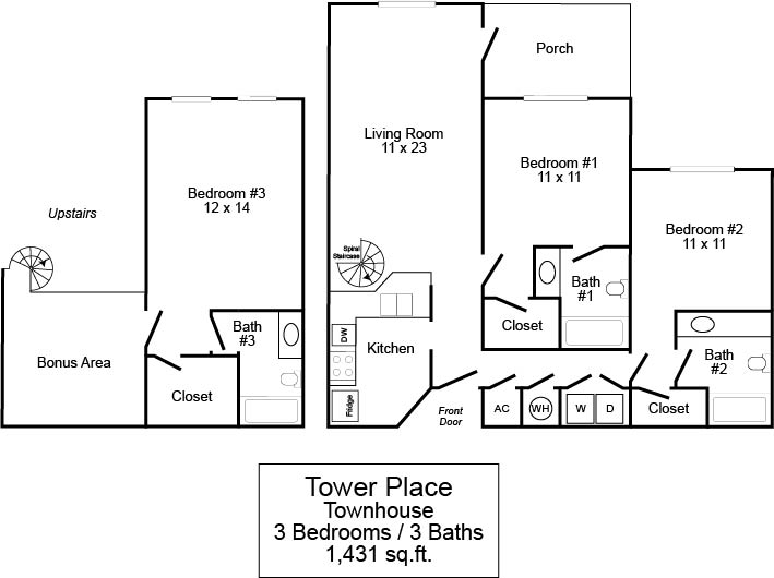 Tower Place 3/3 Townhome